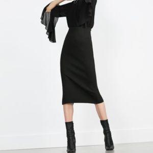 Zara Knit Midi Skirt Black S